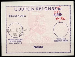 FRANCE Ex10 1,10 / 0,60 / 0,50 / 0,40 ReplyCoupon Reponse (E)type ULYSSES Antwortschein IAS IRC O NEUF-BRISACH 68-2 - Coupons-réponse