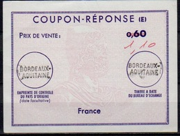 FRANCE Reply Coupon Reponse Antwortschein IAS (E) Ex10 1,10 / 0,60  Issued BORDEAUX AQUITAINE - Coupons-réponse