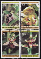 Cyprus 1981 SG #572-75 Compl.set Used In A Block Of Four Cyprus Wild Orchids - Cyprus (Republic)