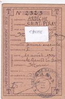 Carte Individuelle D'Alimentation T Profession: Femme Enceinte  Saint Peray Ardèche 1942 - 1939-45