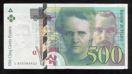 Billet 500 Francs France Pierre Et Marie Curie 1995 Lettre L - 1992-2000 Laatste Reeks