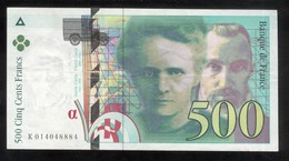 Billet 500 Francs France Pierre Et Marie Curie 1994 Lettre K - 1992-2000 Laatste Reeks