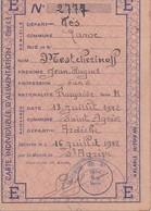 Carte Individuelle D'Alimentation E  Fès Maroc  1942 Cachet Base Militaire Marseille - 1939-45