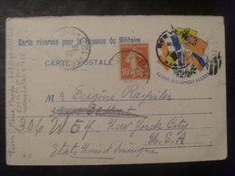 17854- CP Réponse De FM Avec Complément D'affr. > USA, Obl. 21/2/15 Secteur Postal N° 128, Cachet D'arrivée à New York - Marcophilie (Lettres)