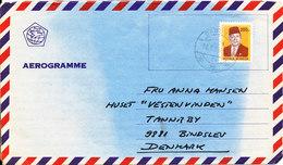 Indonesia Aerogramme Sent To Denmark 24-9-1981 - Indonesia