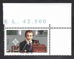 Italia 1995; Guglielmo Marconi, Ritratto, Congiunta: Francobollo Di Angolo Superiore Con Il Prezzo Del Foglio. - 1946-.. République