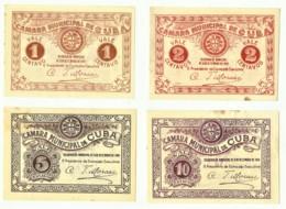 CUBA - Cédulas De 1, 2, 5, E 10 Centavos - M.A. 802, 803, 804, 805 - 31.12.1919 - Emergency Paper Money Notgeld - Portugal