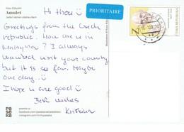 27D: Czech Republic Mahatma Ghandi Stamp Used On Postcard - Czech Republic