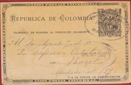 Entero Postal 1891 La Defensa Catolica Bogota Postwaardestuk Entier Postal EP Colombia Postal Stationary Ganzsache - Colombia