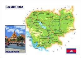 Cambodia Country Map New Postcard Kambodscha Landkarte AK - Cambodia