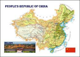 China Country Map New Postcard Landkarte AK - Maps