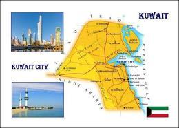 Kuwait Country Map New Postcard Landkarte AK - Kuwait
