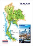 Thailand Country Map New Postcard Landkarte AK - Tailandia