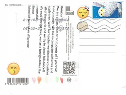 27E: France Snow Owl Bird Stamp Used On Postcard - Brieven En Documenten