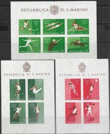 San Marino  1960  Sc#465a  Set Of 3 Olympics Souv Sheets  MLH  2016 Scott Value  $11 - Unused Stamps