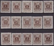 POLAND 1934 Postage Due Fi D65-79 Mint Never Hinged - Impuestos