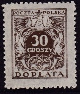 POLAND 1934 Postage Due Fi D73I Mint Never Hinged - Impuestos