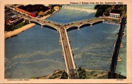 Ohio Zanesville Famous Y Bridge Curteich - Zanesville