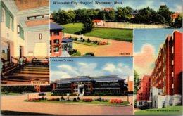 Massachusetts Worcester City Hospital Main Lobby Children's Ward Grounds & Jacques Memorial Building Curteich - Worcester