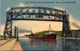 Minnesota Ore Boat Leaving Duluth-Superior Harbor Lift Bridge Raised Curteich - Duluth