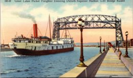 Minnesota Great Lakes Packet Freighter Entering Duluth-Superior Harbor Lift Bridge Raised Curteich - Duluth