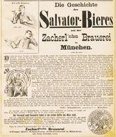 Original-Werbung/ Anzeige 1889 - GESCHICHTE DES SALVATOR-BIERES / ZACHERL'SCHE BRAUEREI MÜNCHEN - Ca.190 X 230 Mm - Pubblicitari