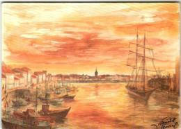 41thl 93 SENEGAL MICHEL - LES SABLES D'OLONNE      (DIMENSIONS 10 X 15 CM) - Peintures & Tableaux