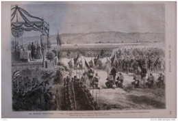 Les Grandes Manoeuvres - 3e Corps, La Messe Militaire Dans La Plaine De Saint-Marcel, Prés De Vernon- Page Original 1875 - Documenti Storici