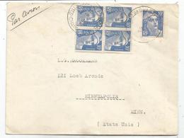 GANDON 10FR BLEU BLOC DE 4+1  LETTREPARIS 6.III.194?  POUR USA  POUR SUISSE AU TARIF - 1945-54 Marianne De Gandon