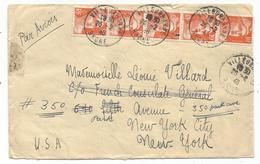 GANDON 10FR N°722 BANDE 5 LETTRE AVION VILLEURBANNE 26.2.1946 POUR USA - 1945-54 Marianne De Gandon