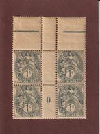107 De 1900 - Neuf ** -  Bloc De 4 - Millésime 0 - Type Blanc . 1c  Gris - Papier GC. - 2 Scannes - Millesimi