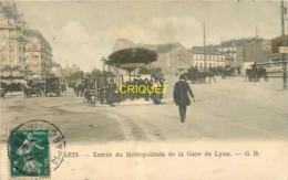Paris, Entrée Du Métropolitain De La Gare De Lyon, Belle Carte Colorisée Pas Courante, Affranchie 1912 - Arrondissement: 12
