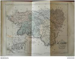 1853 CARTE DES LA BASSES PYRÉNÉES - ATLAS DE LA FRANCE ILLUSTRÉE - PAU - BAYONNE - MAULÉON - OLORON - ORTHEZ - ETC ... - Books, Magazines, Comics