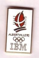 CC261 Pin's Albertville Ibm Signé Cojo 1990 Dos Pas Lisse Egf Doré Achat Immédiat - Informatique