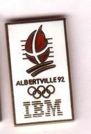 CC260 Pin's Albertville Ibm Signé C Dos Pas Lisse Agf Doré Achat Immédiat - Informatique