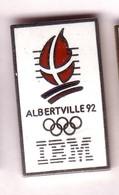 CC259 Pin's Albertville Ibm Signé C Dos Pas Lisse Agf Argent Achat Immédiat - Informatique