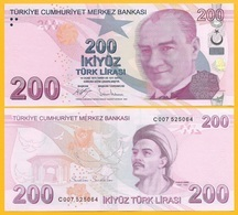 Turkey 200 Lira P-227c 2009 (2017) UNC Banknote - Turquia