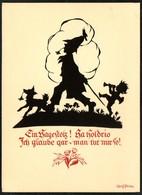 D4474 - Plischke Karte - Engel Angel Hund Dog Zwerg - Werner Klotz - Scherenschnitt - Silhouette