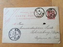 FL3540 France Entier Postal Stationery Ganzsache 124-CP1 De Dijon Pour Schneeberg - Entiers Postaux
