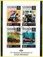Bloc Feuillet Oblitéré De 4 T.-P. - Commémoration Du 70e Anniversaire De La Mort De Louis Renault - Îles Salomon 2014 - Solomon Islands (1978-...)