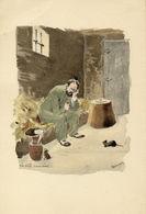 "DESSIN AQUARELLE E. ZOLA / "" La Bete Humaine "" Signée H.Lebourgeois 1898 - Litografía"