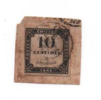 France- TAXE-1859- 10 Cts   Noir  Oblitéré  Du 25 02 1859  - Sur Fragment - -Yvert N° 1  ( 1 Marge Touchée) Rare - 1859-1955 Used