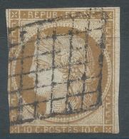 Lot N°54319   N°1a Bistre Brun, Oblit Grille De 1849, Ni Pli, Ni Clair - 1849-1850 Cérès