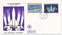 NOUVELLES HEBRIDES - 2 Enveloppes FDC - Projet CONCORDE - émissions Française Et Anglaise - 1968 - FDC