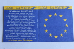Petit Calendrier 1992 Offert Par La Poste - Calendriers