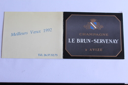 Petit Calendrier 1992 Offert Par Les Champagne LE BRUN SERVENAY A AVIZE - Calendriers