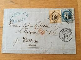 FL3540 France 1867 Lettre De Besancon Par Morteau Pour Brevime Suisse - 1849-1876: Période Classique