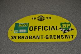 Rally Plaat-rallye Plaque Plastic: 36e Brabant-grensrit OFFICIAL 1979 RAC-zuid BP - Plaques De Rallye