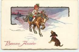 N°14646 - Castelli - Bonne Année - Fillette Sur Un Cheval Devant Un Teckel - Nouvel An