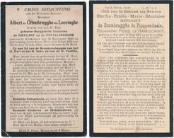 Moere / Koekelare / 2x Doodsprent / Bidprent / Familie De Crombrugghe / 1926 / 1928 - Devotieprenten
